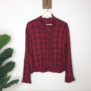 Zara red plaid ruffle button up blouse